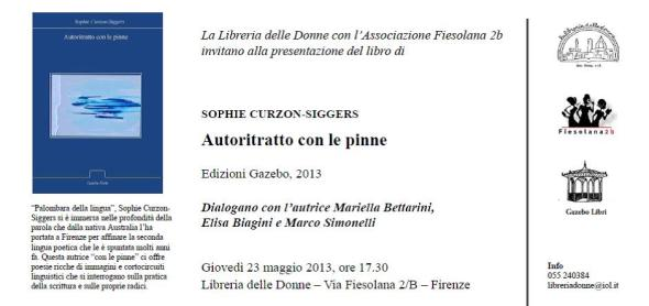 Invitation to the upcoming launch of my Italian poetry book 'Autoritratto con le pinne', released thru Gazebo Verde!